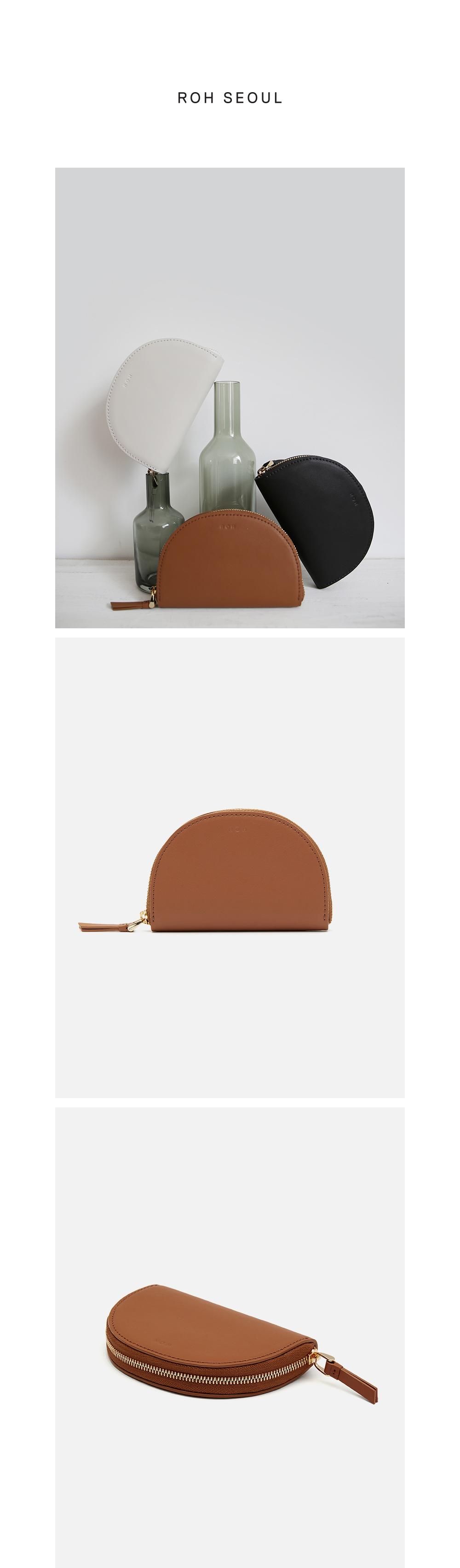 로서울(ROH SEOUL) Half moon card zip wallet Creamy tan